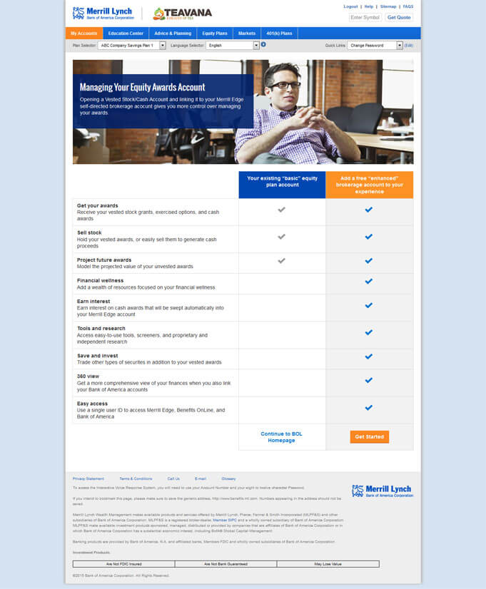 Bank of America - Benefits Online Interrupt Page